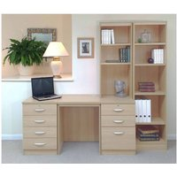 R White Home Office Desk with Side Shelving, Beech
