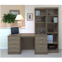 R White Home Office Desk with Side Shelving, English Oak
