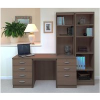 R White Home Office Desk with Side Shelving, Teak