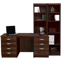 R White Home Office Desk with Side Shelving, Walnut