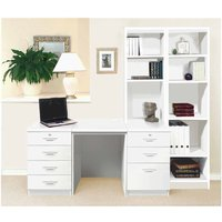 R White Home Office Desk with Side Shelving, White