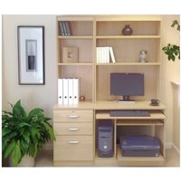 R White Home Office Tall Narrow Desk with Shelving, Beech