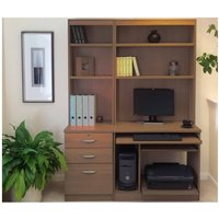 R White Home Office Tall Narrow Desk with Shelving, Teak
