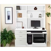 R White Home Office Tall Narrow Desk with Shelving, White