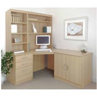R White Home Office Corner Desk Set with Overshelving, Beech
