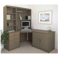 R White Home Office Corner Desk Set with Overshelving, English Oak