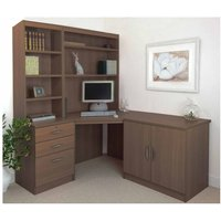 R White Home Office Corner Desk Set with Overshelving, Teak