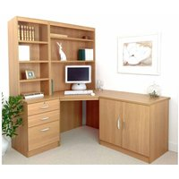 R White Home Office Corner Desk Set with Overshelving, Classic Oak