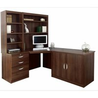 R White Home Office Corner Desk Set with Overshelving, Walnut
