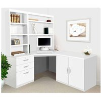 R White Home Office Corner Desk Set with Overshelving, White