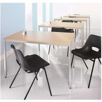 Image of Flexi-table Square Table with Silver Frame FLXS8, Beech Effect