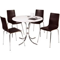 Loft Bistro Set with White Table and 4 Wenge Effect Chairs