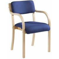 Wood Framed Conference Chair With Arms, Blue Upholstered