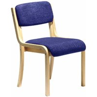 Wood Framed Conference Chair without Arms, Blue Upholstered