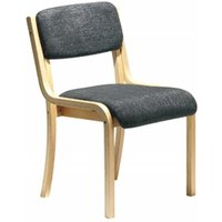 Wood Framed Conference Chair without Arms, Charcoal Upholstered