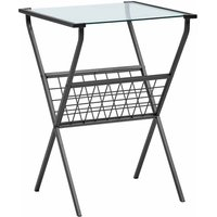 San Jose Glass Side Table with Magazine Holder, Glass