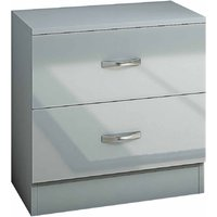 Chilton 2 Drawer Bedside Drawers with High Gloss Drawer Fronts, Grey