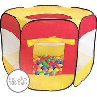 Charles Bentley Childrens Multi-Coloured Pop Up Ball Pit Play Tent with 100 Balls