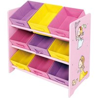Childrens Princess Wooden Toy Storage Shelf with 9 Fabric Bins
