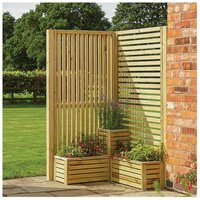 Rowlinson Garden Creations Corner Screen and Planter Set, Natural