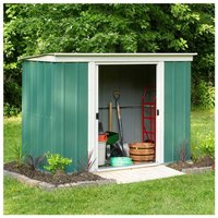 Rowlinson Metal Garden Pent Shed 6 x 4ft, Green/White