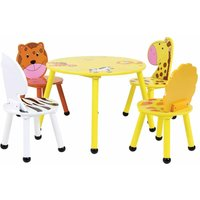 Charles Bentley Childrens Jungle Wooden Round Table and 4 Chairs Set, Yellow
