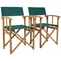 Charles Bentley Folding Garden Chair Set Of 2, Green