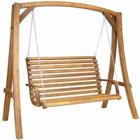 Charles Bentley Wooden Garden Swing Seat, Brown