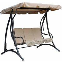 Charles Bentley Premium Canopy Garden Swing Seat, Beige