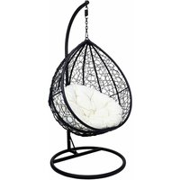 Charles Bentley Hanging Rattan Swing Chair with Cream Cushion, Black