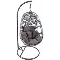 Charles Bentley Floral Hanging Rattan Swing Seat, Grey