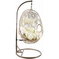 Charles Bentley Floral Hanging Rattan Swing Seat, Natural