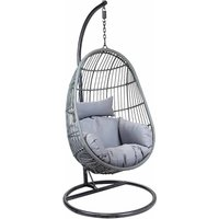 Charles Bentley Egg Shaped Hanging Rattan Swing Seat, Gray
