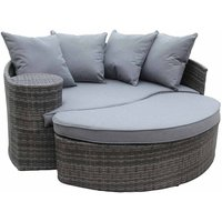 Charles Bentley Rattan Curved Sofa and Footstool Day Bed, Grey