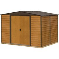 Rowlinson Woodvale Metal Apex Shed With Floor 10ft x 12ft, Coffee