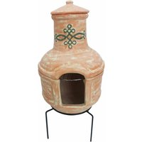 Charles Bentley 2 Piece Terracotta Clay Chiminea with BBQ Grill, Terracotta