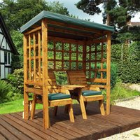 Charles Taylor Twin Seat Arbour with Cover, Green