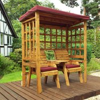 Charles Taylor Twin Seat Arbour with Cover, Burgundy