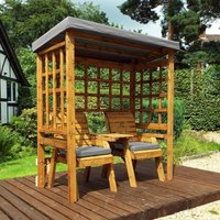 Charles Taylor Twin Seat Arbour with Cover, Grey