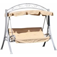 Alfresco 3 Seater Swing Chair with Canopy with Decorative Frame, Beige
