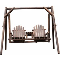 Alfresco 2 Seater Wooden Porch Swing Seat, Wood