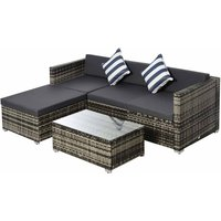 Alfresco Rattan Sectional Garden Sofa Set with Cushions, Grey
