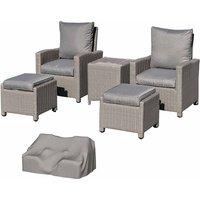 Alfresco 5 Piece Rattan Garden Lounge Set with Drinks Cooler, Grey