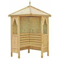 Shire FSC Honeysuckle Corner Pressure Treated Garden Arbour with Bench