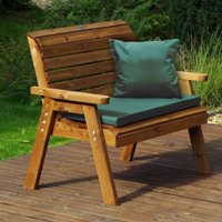 Charles Taylor Traditional Two Seater Bench with Cushions, Green