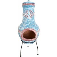 Charles Bentley Large Blue Clay Chiminea Aztec Design, Blue