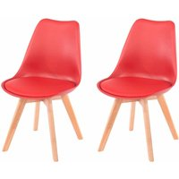 Aspen Upholstered Chair With Wood Legs Pack of 2, Red