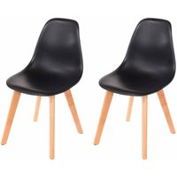 Aspen Plastic Chair With Wood Legs Pack of 2, Black