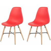 Aspen Plastic Chair With Metal Cross Rails Pack of 2, Red