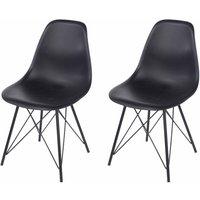 Aspen Plastic Chair With Metal Legs Pack of 2, Black
